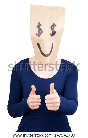 a person with a happy dollar sign paper bag on its head showing thumbs up