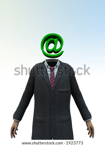 A person with a head in the form of the email symbol.