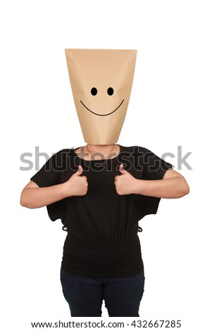 a person with paper bag head it showing thumbs up and smile face - stock photo