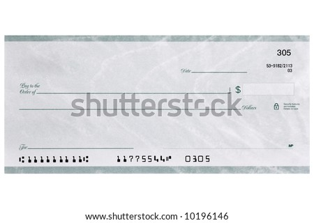A personal check shot straight on without name and address and has fake numbers - stock photo