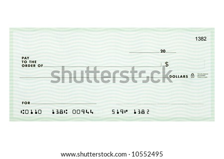 A personal check without names or addresses with fake account numbers. - stock photo