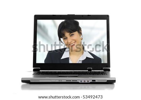 a personal computer isolated on white background - stock photo