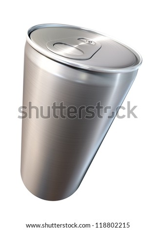 A perspective view of a regular brushed aluminum soda can on an isolated backgound - stock photo