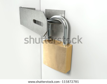 A perspective view of a regular metal hasp open with an open brass padlock attached to one side on an isolated background