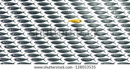A perspective view of a school of stylized silvery fish swimming in one direction with a contrasting golden one swimming in the opposite direction on an isolated background - stock photo