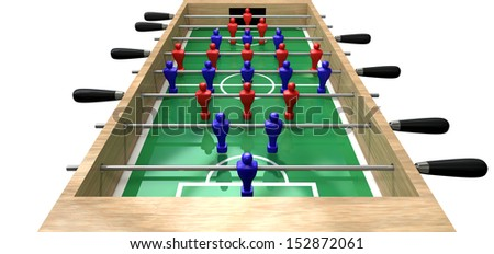 A perspective view of a wooden foosball table showing a blue and red team on a green marked pitch on an isolated white background - stock photo