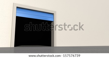 A perspective view of an empty storage room with an open blue roller door on an isolated white wall background - stock photo