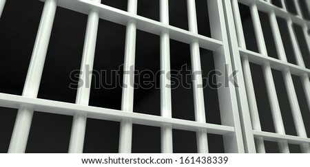 A perspective view of white iron jail cell bars and a closed sliding bar door on a dark background - stock photo