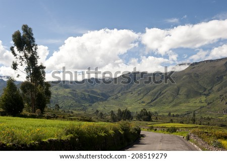 A Peruvian roadway near Arequipa Peru near Chivay on a sunny day. - stock photo