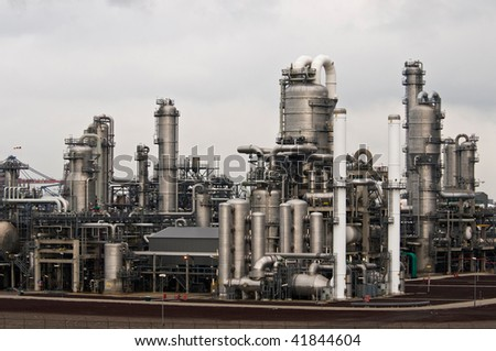 a petrochemical factory in the harbour of rotterdam - stock photo