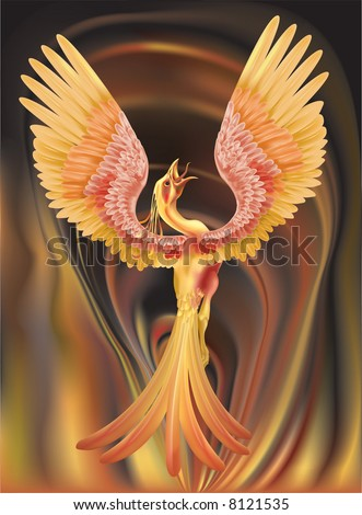 A phoenix rising from the ashes - stock photo