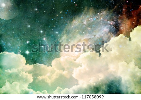 A photo based cloudscape with clouds, stars and moon with distant galaxies. - stock photo