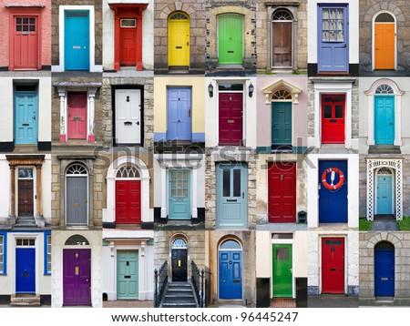 Photo Collage 32 Colourful Front Doors Stockfotos Rechtenvrij