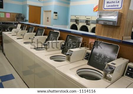 A photo inside a laundromat - stock photo