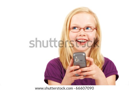 A photo of a bond girl and her phone - stock photo