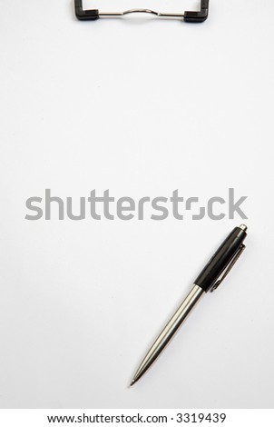 a photo of a Clipboard and pen over white background
