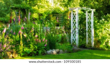 A photo of a colorful Danish summer garden - stock photo