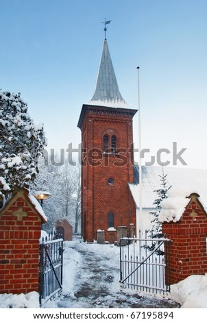A photo of a Danish Church in winter - stock photo