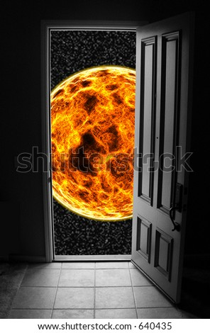 A photo of a doorway leading to space. Many metaphorical uses - stock photo