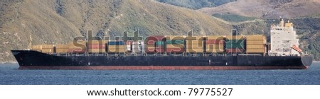 A photo of a huge commercial boat - stock photo