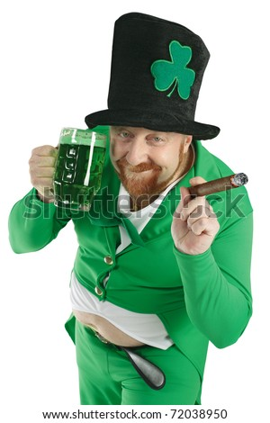 A photo of a Leprechaun drinking green beer on St. Patricks Day. - stock photo