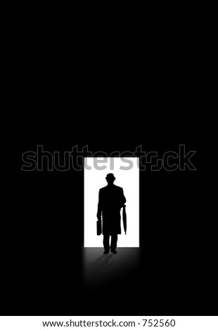 A photo of a man walking out of the light