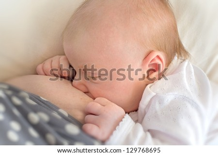 A photo of a Mother breast feeding newborn baby