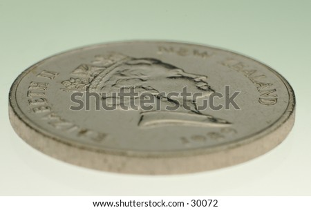 A photo of a New Zealand twenty-cent coin - stock photo