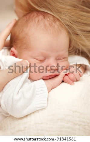A photo of a Newborn baby boy - stock photo