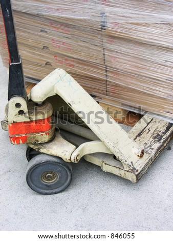 A photo of a pallet jack - stock photo