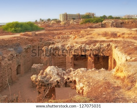 A photo of A photo of the Tombs of the Kings (Paphos) Cypres - stock photo