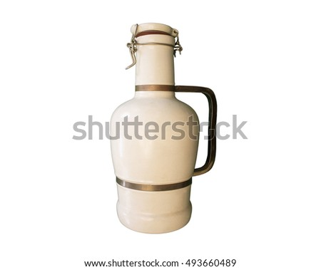 A photo of a rare vintage German clay/pottery wine jug or bottle (with blurred dirty brass handle. clip seal and vein joint on side), taken in direct light - Whites neutralized by means of lens/filter
