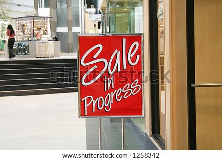 A photo of a sale sign at the mall - stock photo