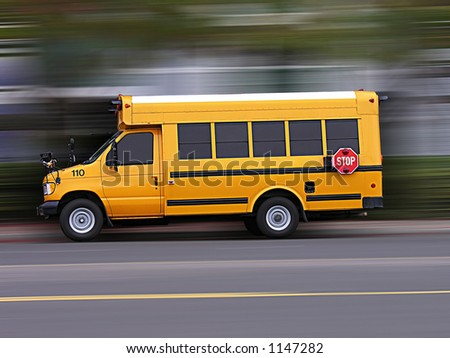 A photo of a school bus rushing to school - stock photo