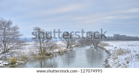 A photo of a small river in winter landscape