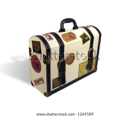 A photo of a themed world traveler suitcase - stock photo