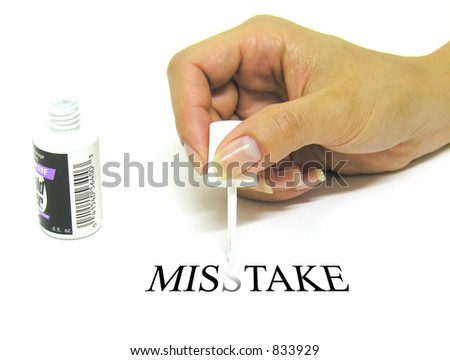 A photo of a woman correcting a mistake - stock photo