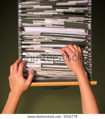 A photo of a woman filing - stock photo
