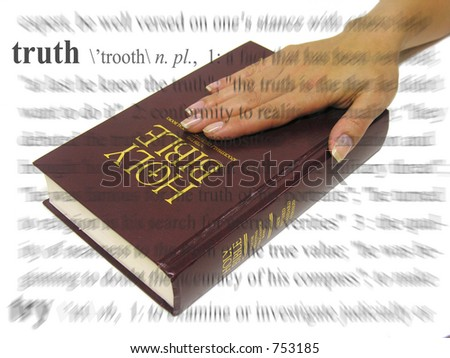 A photo of a woman swearing on the bible, a truth theme - stock photo