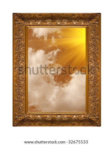 A photo of a wooden picture frame with the sky isolated on white - stock photo