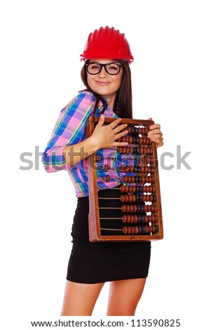 A photo of a young woman with glasses holding an abacus