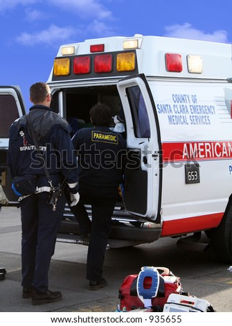 A photo of an ambulance with patient inside - stock photo