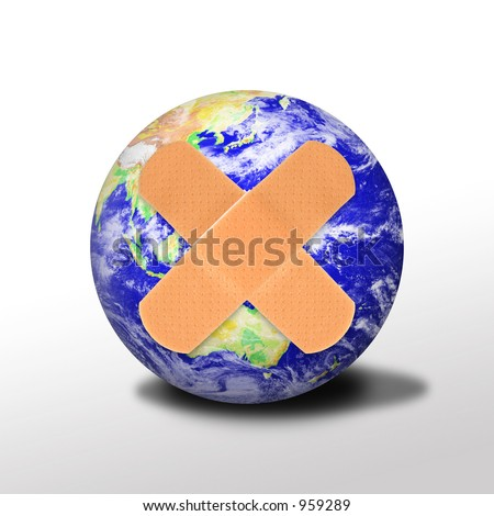 A photo of band-aids covering the earth signifying a heal or recycle theme - stock photo