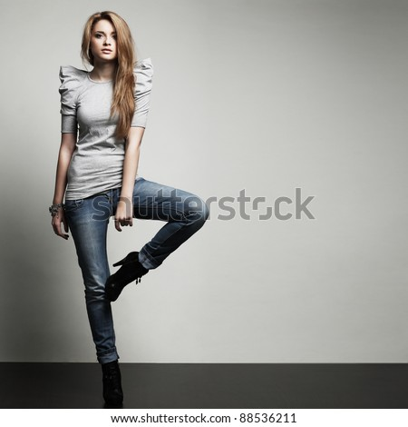 A photo of beautiful girl is in fashion style, glamur - stock photo