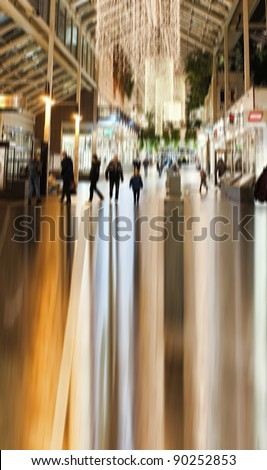A photo of  City life New York - motion and lens blurred - stock photo