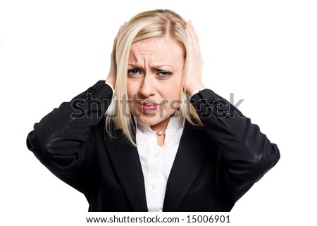 A photo of freckled woman having a headache - stock photo