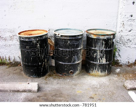 A photo of garbage cans with a waste theme