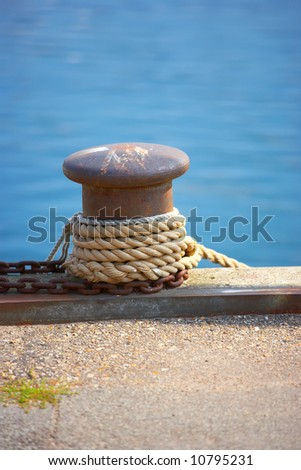 A photo of harbor details a sunny day - stock photo