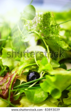 a photo of Healthy green salad - stock photo