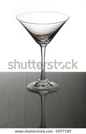 A photo of isolated empty martini glass